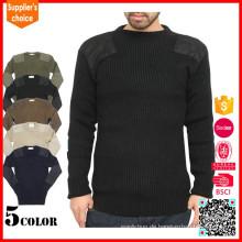 2017 Spätester Entwurf O-Ausschnitt Pullover Winter Militär Pullover 100% Wolle