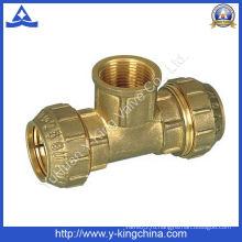 Латунный тройник для соединения труб (YD-6047)