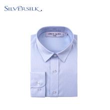 Camisa de botão casual masculina clássica com listras