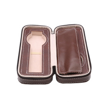 Portable watch case custom luxury leather travel watch packaging box bag zipper leather watch box