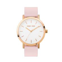 Moda różowy prawdziwy kwarcowy damski zegarek na rękę