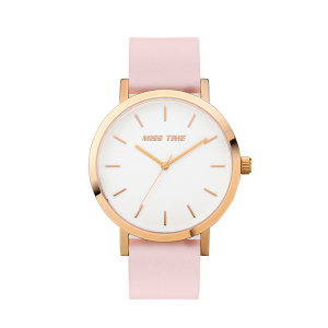 fashion pink genuine leather quartz ladies wrist watch
