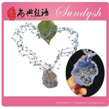 Collier de pierres précieuses tressé multicolore de style chinois bijoux