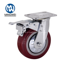 Roda de rodízio bloqueável de 6 polegadas com freio