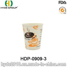 Taza de papel de café caliente desechable de una sola pared con impresión (HDP-0909-3)