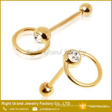 Gold Plated Surgical Steel Press Fit Clear Crystal Tongue Barbell
