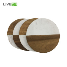 Marble Acacia Wood coaster set