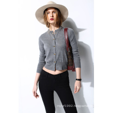 Merino Round Neck Knit Women Cardigan