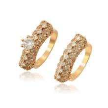 15848 xuping nueva llegada moda estilo real 18k oro color circón mujeres anillo conjunto