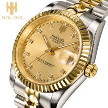 Luxury Golden Business Mechanical Men Watch Acier inoxydable résistant aux chocs antidérapant Reloj Digital