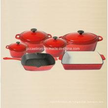 Utensilios de cocina de hierro fundido del esmalte 6PCS para la cocina
