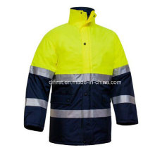 Safety Parka with Oxford Waterproof Fabric and PP Cotton Liner