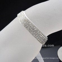 White ribbon bracelet pave with crystal sheet