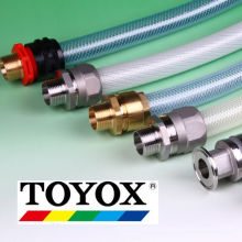 Lots of brass hose connectors: cap nut, cam arm, dedicated air, barb fitting, fastening coupling by Toyox. Made in Japan