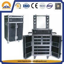 LED Lighted Trolley Makeup Case with Drawers Hb-1505