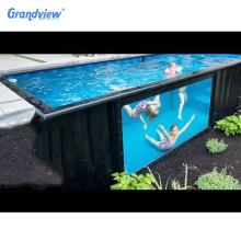 20 ft 40 ft shipping outdoor acrylic container swimming pools with glass