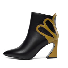 Best selling fancy straige heel ankle zipper high quality leather boot for lady