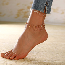 Fashion Retro Multilayer Tassel Anklet Chain Small Bell Women′s Anklet Adjustable