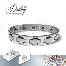 Destino joias cristais Swarovski cruzam pulseira