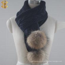 Moda Hot Popular Senhora Inverno Crochet Echarpe De Malha De Acrílico Com Bola De Pele