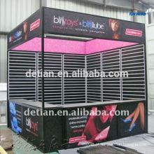 cabine de exposição modular de pouco peso 3mx6m da feira profissional com a parede dos slat para pendurar produtos
