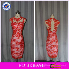ED Bridal Real Sample Sheath Red Sleeveless Knee Length Backhole Evening Dress Short with Lace