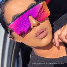 2020 new fashion retro men big frame square sunglasses UV400 over sized flat top women sunglasses