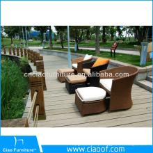 Cadeira de vime quente do jardim do lazer da venda com otomano