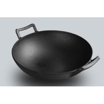 wok two ear handle cast iron wok