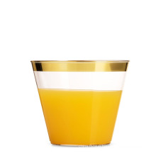 hot sale silver 9oz gold rim eco-friendly PS plastic cups