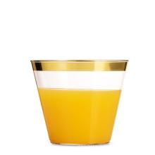 горячая распродажа серебро 9 унций золотой каемкой Eco-содружественный PS пластиковых чашек