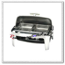 C063 Stainless Steel Chafing Dish Set With 2 Food Pans and Rectangular Roll Top