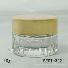 Pot en verre transparent de 10g avec le chapeau en aluminium, acceptent la coutume