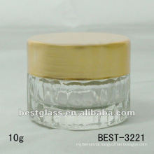 10g clear glass jar with aluminum cap, accept custom