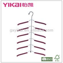 Conjunto de 3pcs espuma EVA revestido cintas de metal cabide com um cinto de rack e 5tiers da barra de calças