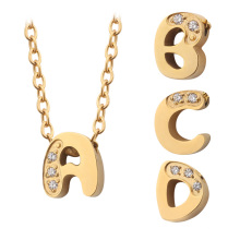 Tiny Initial Letter Charm Necklace Plated Link Chain Necklaces Gold Stainless Steel Micro Pave CZ Stone Wedding Zircon MEN'S