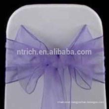 cheap wholesale hot selling chair hood/fancy purple organza chair sash/chair sash for wedding banquet hotel