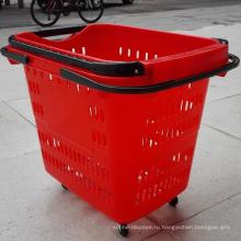 Супермаркет Пластиковые движущиеся корзины для хранения оптом