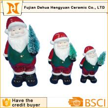 Père Noël en céramique avec arbre de noel pour Décoration Christams