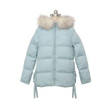 Winter short women real raccoon fur hooded belt side down coat