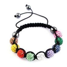 MultiColor Shamballa Armband mit Harz Kristall Perlen BR30
