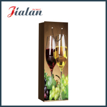 Glossy Laminated Ivory Paper Grape Wine Bottle Gift Paper Bag