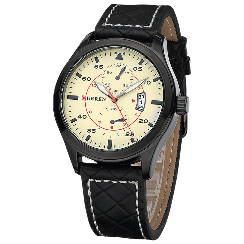 Minimalist Genuine Leather Sport Watch For Men
