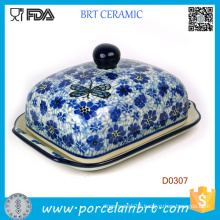 Purple Flower Decorative Ceramic Kitchen Butter Dish