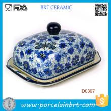 Plato de mantequilla de cerámica decorativo de la cocina de la flor púrpura
