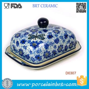 Purple Flower Decorative Ceramic Kitchen Butter Dish