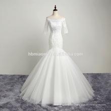 Nueva moda en stock manga media vestido de novia longitud del piso sordida vestido de noche vestido de bola al por mayor