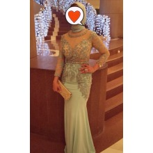 ABS-001 2015 New Arrival Zipper Voltar Arabia Women Gowns Lace Applique Long Sleeve Stain Mermaid Muslim Party Dress Vestido