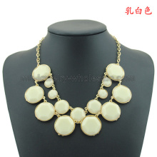 Tow Lines Round Resin Beads Gold Plated Charms Necklace