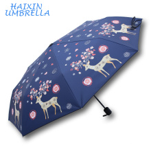 High Quality Chinese Advertisement Custom Waterproof Special Pomotion Gift Storm Cheap Umbrella 3 Fold Promotion Lovely Deer